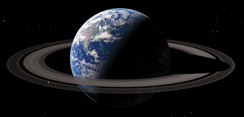 we-are-star-stuff:  If Earth Had a Ring Like Saturn Our planet is lucky enough to have a large moon orbiting not too far away, which makes for very pretty moonlit nights. But for spectacular skies it might almost be worth trading in our moon for a ring like Saturn's. In fact, the earth did once have a ring - as part of the formation of our moon, ironically enough. When the planet Thea crashed into the earth, a titanic amount of material was blown into space. This went into orbit around the earth, forming a ring until it all eventually coalesced into our present-day satellite. This only happened because the material was orbiting outside of earth's Roche limit. In 1848, the French mathematician Edouard Roche calculated that if a large satellite were to approach too closely to a planet, it would be torn apart by the planet's gravitational forces. This happens because the gravitational attraction of a planet on a moon is not equal. The planet pulls more on the side of the moon closest to it and less on the side further away. If the moon gets too close, this unequal pull can become great enough to tear the moon apart. Every planet has what is called a Roche limit. Some astronomers believe that Saturn's rings are material that was unable to form into a moon because it lies within the planet's Roche limit. The gravitational pull of Saturn prevents particles from clumping together to form a moon. Another idea popular among scientists suggests that during the time when Saturn was first forming, it had one or more moons just outside its Roche limit. The bigger a planet is, the more gravity it has. And the more gravity it has, the bigger its Roche limit is. So as Saturn grew larger, its Roche limit grew, too. The limit soon moved past the inner moons and these moons soon broke apart. The remnants of the destroyed moons eventually formed the magnificent rings we see today. There may still be large pieces of these ancient moons within the rings. They would be much smaller than their ancestors but a thousand times larger than a typical ring particle. Another theory suggests that a few hundred million years ago - at a time when the early ancestors of the dinosaurs were roaming Earth - Saturn may have had no rings at all. The rings formed when one or more small moons wandered too close to Saturn. When they got within the Roche limit, Saturn's gravity ripped them apart. After millions of years of bumping against one another, the pieces of moon were ground into the tiny particles that form the rings today. If we had rings in the same proportion to our planet that Saturn's are to it, it is pretty easy to figure out what they would like like from different places on the earth. From the equator the rings would be passing directly overhead. Since you'd be looking in the same plane as the rings, all you would see is a bright line arching from horizon to horizon. Here is what the rings might look like from Quito, Ecuador:  If we travel just a little further north to Guatemala, the rings begin to spread across the sky. The earthlight illuminating the dark side of the moon is many times brighter than we are accustomed to, due to the increased sunlight being reflected from the rings.  From Washington, DC (at 38° latitude), the rings begin to sink below the horizon, though they would still be an awe-inspiring sight as they dominate the sky both day and night.  At the Arctic Circle, the rings barely reach above the horizon. Seen here from Nome, Alaska, the brilliant rings illuminate the barren landscape scarcely more than a full moon would. Unlike the sun or moon, however, the rings neither rise nor set… they are always visible, day or night, always in exactly the same place.