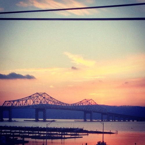 The original Tappan Zee Bridge is not long for this world. It sure dresses up nicely at sunset.