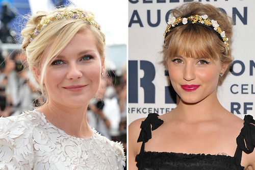 Beauty battle! Kirsten Dunst and Dianna Agron were both spotted sporting romantic floral headbands from Dolce & Gabbana. Tell us who wore it best here »