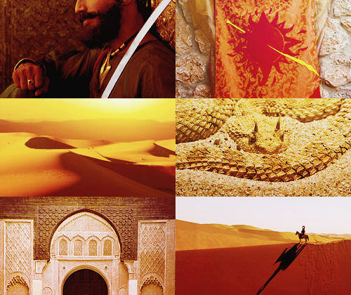 "Dorne  is bordered by the Sea of Dorne to the north, the islands known as the Stepstones to the east, and the Summer Sea to the south. Stretched between them is the mountain range known as the Red Mountains, which separates Dorne from the remainder of the Seven Kingdoms by land. The region is rocky, mountainous, arid and dry, and features the only desert on the continent. Its capital is Sunspear and the lords of the ruling House Martell still style themselves ""Prince"" and ""Princess"" in the Rhoynish fashion. (x)"