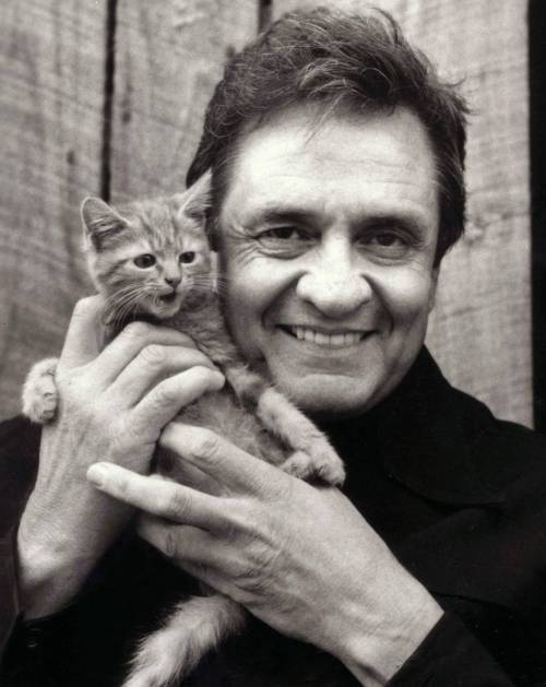 Johnny Cash holding a kitten
