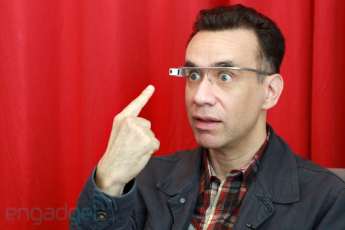 laughingsquid:  Fred Armisen Tries Google Glass in Real Life After Parodying Them on 'Saturday Night Live'