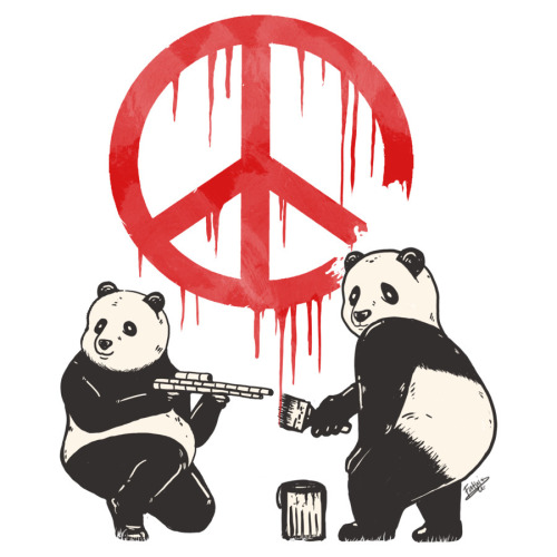 Pandalism Peace Sign T-shirt available @ Designbyhumans