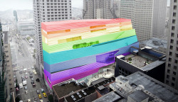 "JUST ANNOUNCED: this morning an SFMOMA spokesperson revealed new plans for the external treatment of the museum's building expansion, explaining: ""to best reflect the unique character of our city, we have decided on a new façade design that is 100%, absolutely fabulous!"" In 2016, SFMOMA will be all rainbows, all the time :)"