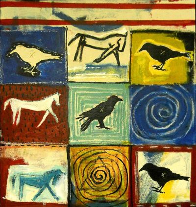"hokeoutsider:  ""Birds and Horses"", 25""x 23"", acrylic on recycled wood, T-Marie Nolan, outsider/folk artist…clik link for more ebay animal stuff… http://www.ebay.com/sch/metrolux6/m.html?item=261216322300&ssPageName=STRK%3AMESELX%3AIT&rt=nc&_trksid=p2047675.l2562"