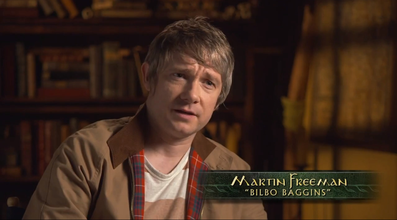 "Great shot of Martin Freeman from this new video of behind the scenes at ""The Hobbit."" He has such an engaging personality in these sorts of interviews.       See the whole video here:  http://www.deadline.com/2012/12/hobbit-unexpected-journey-featurette-behind-the-scenes/"