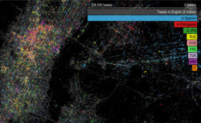 "Twitter Tongues Shows Geographical Multilinguality Of London And NYC - ""Twitter truly seems to be an all-knowing entity. If we would like to see how many people are talking about chipmunks in Italy, it could tell us in a second, with even more precise data for regions and cities. Twitter Tongues uses Twitter to show us the languages of tweets sent from London and New York in the summer of 2012, and provides a unique look into these multilingual cities.Playing around with the website application gives a very interesting insight into the different districts that have more or less inhabitants of a certain tongue than others"""