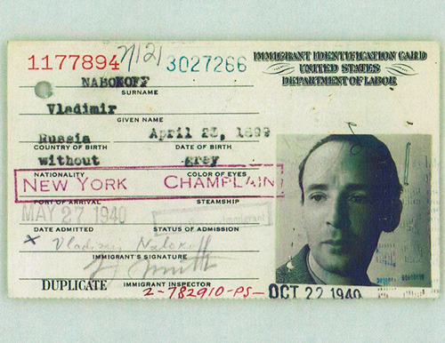 explore-blog:  Vladimir Nabokov's United States immigration ID, from the fascinating story of how he became an American.