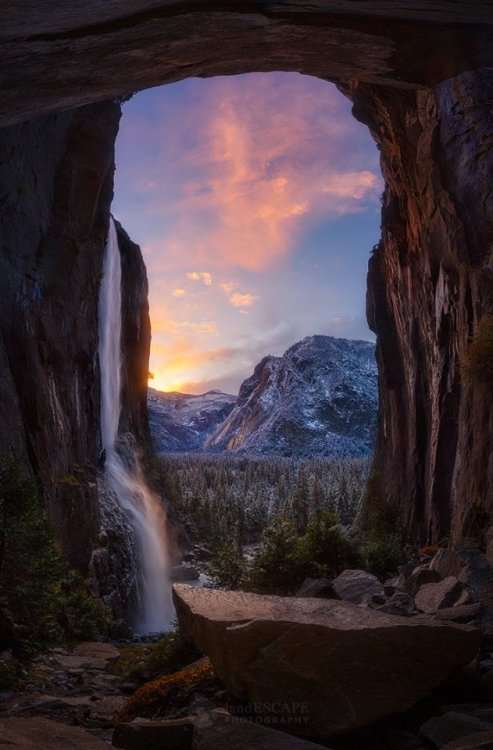 waterfalls mountains winter alpine dust yosemite valley sunset sunrise landscape nature uploads
