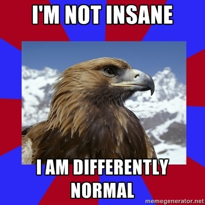[Caption - I'm not insane / I am differently normal] This is in response to people who call autistics r-words or insane or some other bullshit. — Sam