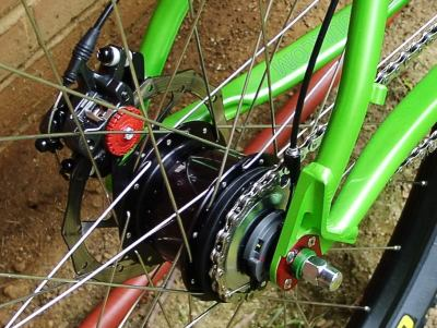 Shimano SG-S501 hub with Rapidfire shifter BB7 Brakes Stans Flow rims Geax Saugaro TNT tire with Kenda Tubes