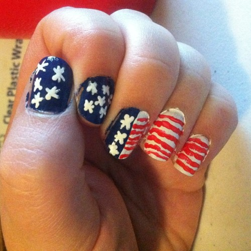 My 'Mercia nails. Inspiration from @gypsy_nails #julep #nails #nailpolish #zoya #sallyhansen #red #white #blue