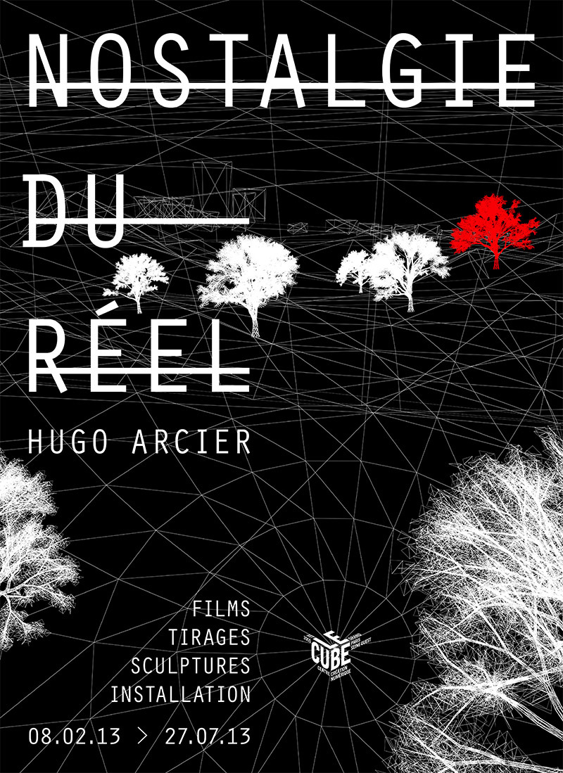 Le Cube presents Hugo Arcier's solo exhibition with a selection of films, 3D sculptures and prints. He has already attracted notice as an artist on the digital scene and, in this exhibition, Hugo Arcier develops a scenario that leads the viewers to reflect on and question reality using universal and metaphysical themes such as life, death, passing time and more. Hugo Arcier's works call on a common memory: are we confronted with an altered memory of the reality, or is it the reality itself that is distorted in the end? The work eventually frees itself from the model and gains life-like characteristics: dreams, faults, degeneration, avidity and impulsion. The artist both imitates and separates. He methodically searches what his work tool (3D computer graphics) can do and exploits its characteristics. Hence, the tool itself becomes the subject.  This now-visible technology gives the work a sharp look. Hovering between memory and aspiration, lurking deep within technology, nostalgia is found both in similarities and differences, and equally in search and loss. His search dissects virtual image technology in order to reflect on 3D worlds that clash together, have confrontations and tame each other within the confines of a changing reality.