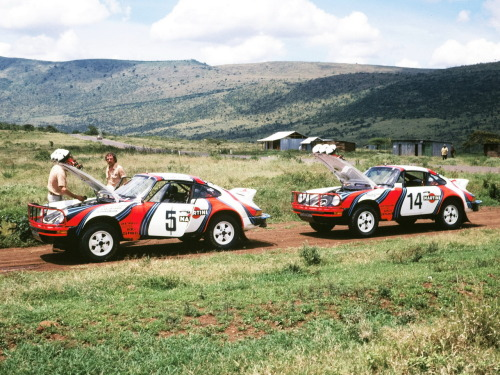 Rally 911's in Martini livery's, in the middle of nowhere.