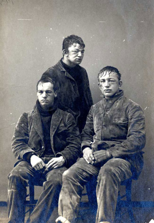 "Rugged Ivy: Princeton sophomores after a snowball fight in the winter of 1893 Tailored clothes, rollneck sweaters, and an Ivy league education didn't seem to civilize this fight any. All three men pictured were sports stars at Princeton; one of them, John P. ""Johnny"" Poe (center, I think), never graduated, but continued looking for fights—he enlisted in the U.S. Army twice, the National Guard, the Marine Corps, the Nicaraguan army (with whom he first saw action), and then the British army at the outset of World War I, eventually fighting (and dying) in France as a member of the famous Black Watch. (Aspire via The Paris Review Daily) -Pete"
