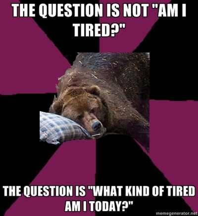 "the question is not ""am I tired?"" the question is ""what kind of tired am I today?"" - Sleep Disorder Grizzly  Submitted by whatever-lion"