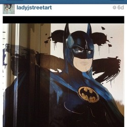 "Amazing art work by our family @ladyjstreetart x batman w @gorgeousgangstas ""Gg"" logo painted on the side of a house in Bryon Bay Australia go follow her amazing talents.."