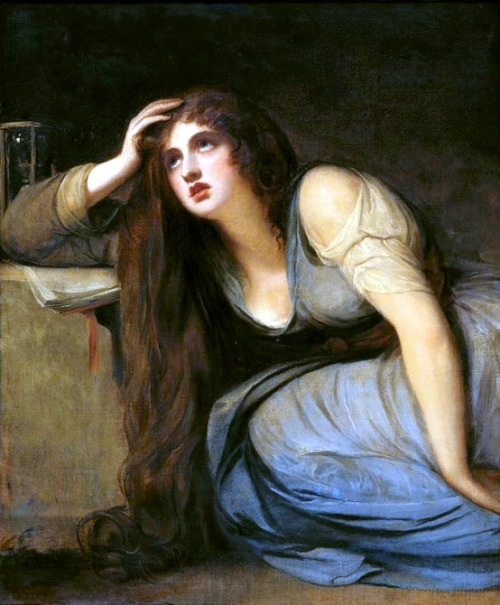 colourthysoul:  George Romney - Lady Hamilton as The Magdalene (1792)