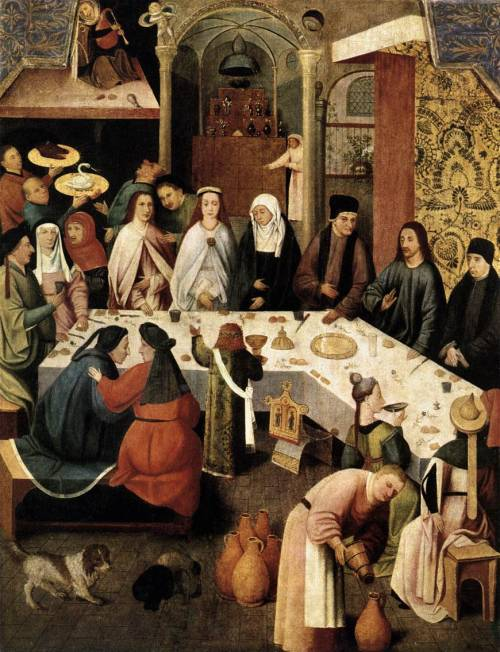 mediumaevum:  Oooh, I like this:  Almost all medieval feast foods were conveyed to the mouth by elaborate, and often elegant, finger choreography…However, both pinky fingers were extended, never touching food or gravy or sauce, reserved as spice fingers. Dipped into the salt, sweet basil, cinnamoned sugar, or ground mustard seed, then raised to the tongue, the spice fingers displayed a feaster's digital finesse while adding another sensual pleasure: touch of food's texture. Some modern polite extensions of pinky fingers, serving no physical pur­pose, are cultural remembrances of medieval spice fingers. In fact, a medieval clerical encouragement for use of the fork was to eliminate the pleasure of touch. The fork was generally ignored until the late 16th century as a super­fluous and foppish metallic intrusion between sensual food and willing mouth.  -Historian Madeleine Pelner Cosman  image: The Marriage Feast At Cana, traditionally attributed to Hieronymus Bosch