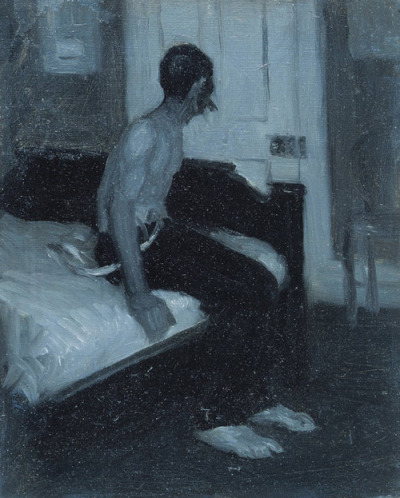wryer:    Edward Hopper (American, 1882-1967), Man Seated on Bed, c.1905-06. Whitney Museum of American Art, New York.