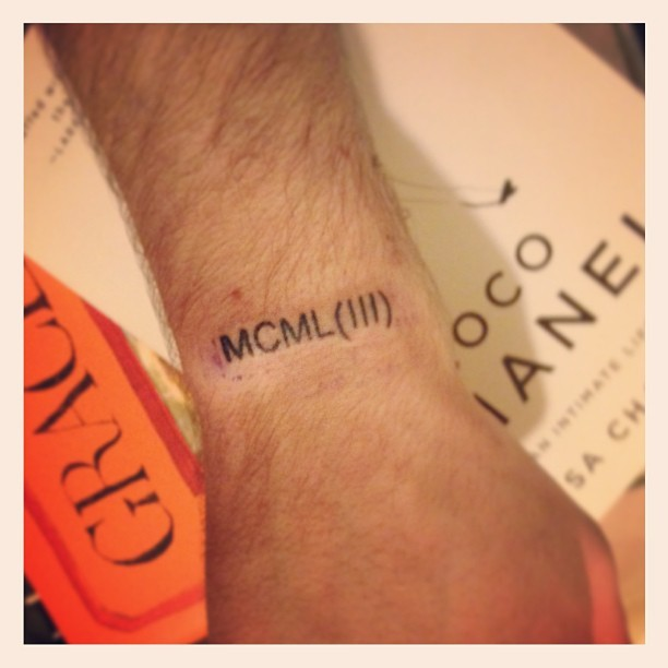 Got this today. MCML is my moms birth year and MCMLIII is my dads. ❤  #fresh #tattoo #parents #gay #love #cocochanel #gracecoddington