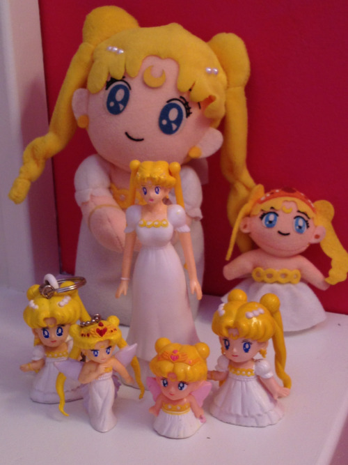 silvermoon424:  My updated Serenity collection. :P Princess Serenity items: 4 Neo-Queen Serenity items: 3  I love the  Neo Queen Serenity key chain. The plushies are adorable as well. I didn't know they made those!