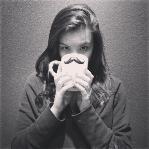 Tomorrow's my birffday, so… I got this cool mustache mug. Design Nerd for life. <3 Hannah