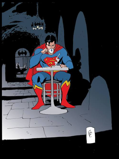 deantrippe:  Goran Parlov illustrated this moment of Batcave hospitality.