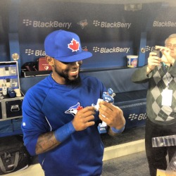 Jose Reyes sees his figurine for the first time which will be given out to the first 20,000 fans attending the Jays vs. Rangers game on Sunday, June 9th.