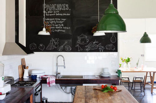myidealhome:   blackboard wall for kitchen recipes (via desire to inspire)