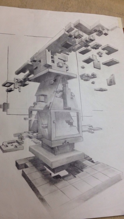 Finished cantilever Graphite on paper 18x24 September 30th