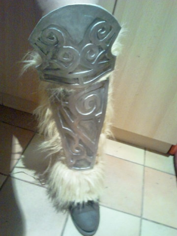 "gekroent:  The whole progress of my boots. :D Including the little ""oh damn that paint doesn't cover at all"" incident. Note: The boots are an own design. I had to alter them for my Aela cosplay since my knees are my problem area. Plus: My knees are now safe from all arrows!"