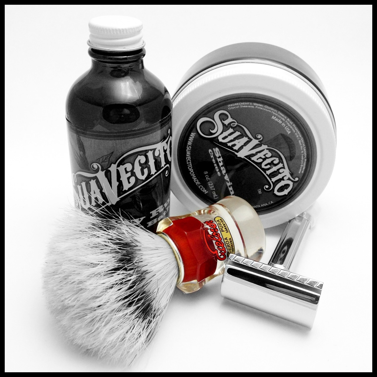 afeitadodiario:  Afeitado del día / Shaving of day. Semogue 830 brush / Suavecito shaving creme / Merkur Progress safety razor + Rapira blade / Suavecito Bay Rum aftershave