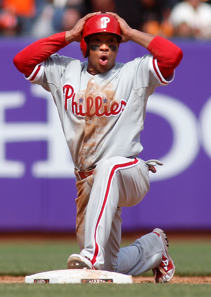 timmybringbackthebuffbody:  Phillies' Ben Revere can't believe he was called out stealing second base in the ninth inning of their game at AT&T Park in San Francisco, Calif., on Wednesday, May 8, 2013. The Giants beat the Phillies in ten innings 4-3 on a hit by pinch hitter Andres Torres. (John Green/Bay Area News Group)  how cute is he, though?