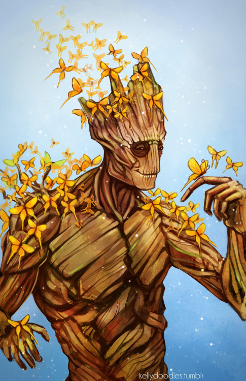 kellydoodles:  Finished teh Groot :D May make this into a print but I'll need to adjust it a bit more. Just Groot and a couple of his new friends :) Ooga-ChakaOoga-OogaOoga-Chaka!!