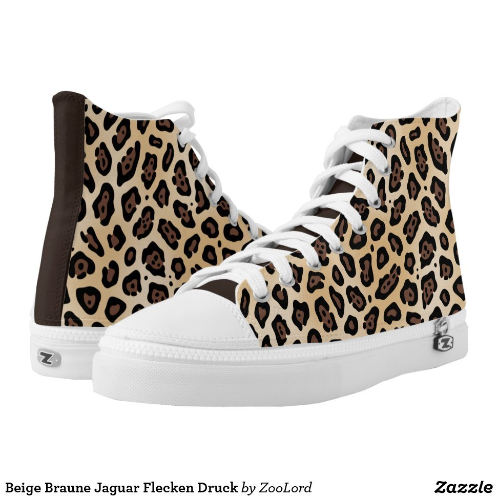 Beige Braune Jaguar Flecken Druck High-Top Sneakers - Unique Canvas Shoes With Interchangeable Tops  External image  Buy This Design Here: Beige Braune Jaguar Flecken Druck High-Top Sneakers Created by Fashion Designer: ZooLord Look sporty, stylish and elegant in a pair of unique custom sneakers! Each pair of custom Low Top ZIPZ Shoes is designed so you can fit your style to any wardrobe, mood, party or occasion. Fashionable sneakers for kids and adults, ZIPZ shoes give you a unique and personalized way to express yourself!Beige Braune Jaguar Flecken Druck High-Top Sneakers Product Information - Unisex sizing: 4-13 Men's | 6-15 Women's - Material and fabric: Durable canvas tops, rubber soles - Buy multiple pairs! ZIPZ shoes are interchangeable, the top cover can be zipped on and off so you can easily switch up your style on the go - Rubber soles are manufactured with extra cushioned insoles and a specially designed arch support system to give your feet a comfortable and healthy fit - Quality you can trust: ZIPZ has been independently tested by SATRA for wear, use, and durability - Additional cost for designing on the tongue of the shoe - Beige Braune Jaguar Flecken Druck High-Top Sneakers are printed in Santa Fe Springs, CA #sneakers#shoes#footwear#style#fashion#sports#fashionista#OOTD#streetwear#fashionblogger