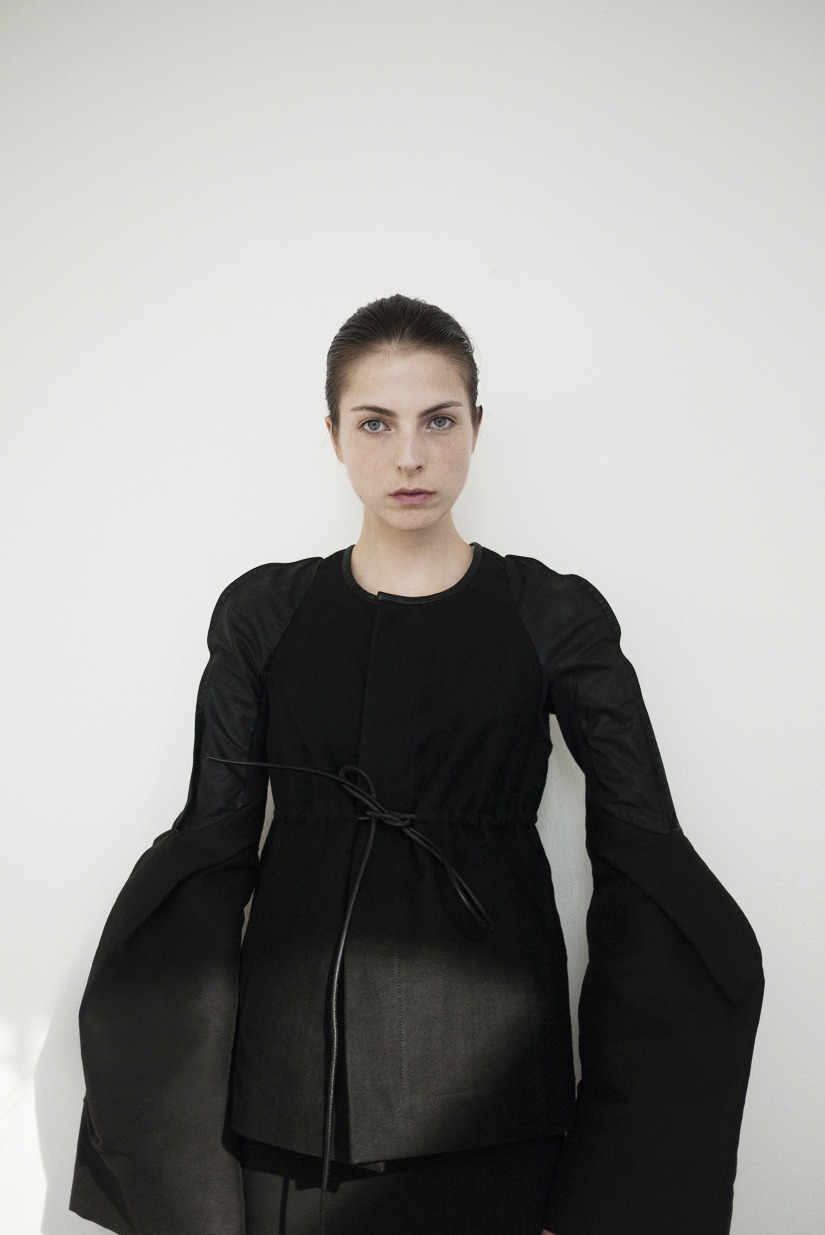Josefin Arestav wearing Rick Owens jacket from S/S 2012.