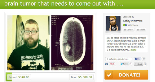 toxicbreedsfunhouse:  Help out if you can, anything will help. If you don't have money to donation, at least reblog this around. Lets help this dude out. http://www.gofundme.com/245eps