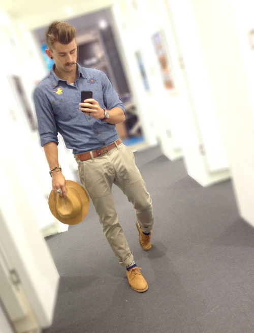 a touch of tan for today in Dr. Denim chinos and Insight chambray shirt