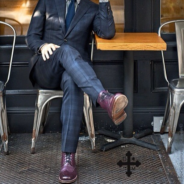chriswjoseph:  Add color to your next dark suit with purple wingtip boots… [Brand information unavailable; original photo source unknown.] #theMensStyleConcierge #StyleAmbassadors #MensWear #Dapper #Dandy #DailyStyle #Cross #Gentleman #MensStyle #SuitUp #Haberdashery #Purple #Plaid #Wingtips #Sartorial #Boots #MensFashion #StyleKings #chriswjoseph