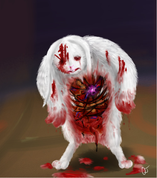 {{ I got a request from the forums to make a bunny man that's been resurrected with nightmare fuel and gears.}} {{ I've never seriously tried blood before, so I hope it looks right}}