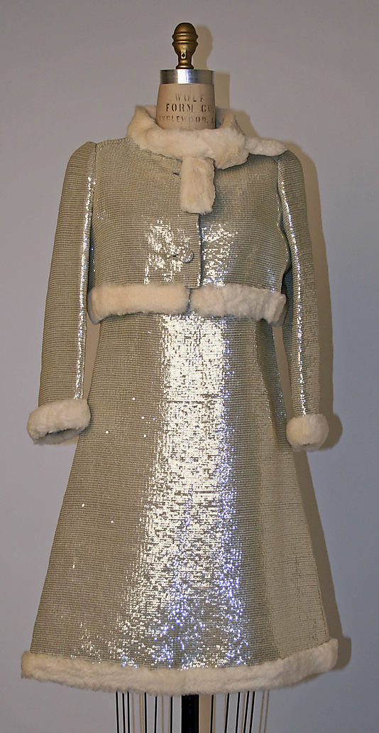 André Courrèges, Evening dress, plastic, fur 1967 via Metmuseum