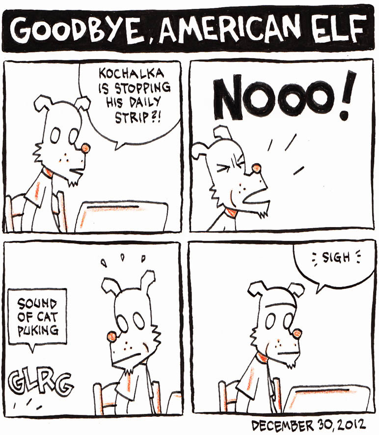 top-shelf-comix:  A tribute to James Kochalka's American Elf (which ends tomorrow) by the wonderful Norwegian cartoonist Jason. Meanwhile, we're continuing to work with James to roll out the remastered digital editions of American Elf with new covers, for Comixology, Apple iBooks, ComicsPlus by iVerse, etc. - the latest one is American Elf 2005. And we can't wait to see where he goes from here!