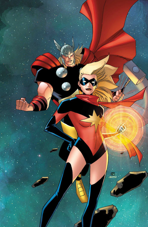 comicbookartwork:  Captain Marvel and Thor  umm wtf happened to the top right and left corners? its like he forgot to keep brushing. i do like the coloring on space but kinda confused bout it. id love to get a hold of the black and white to play with this.