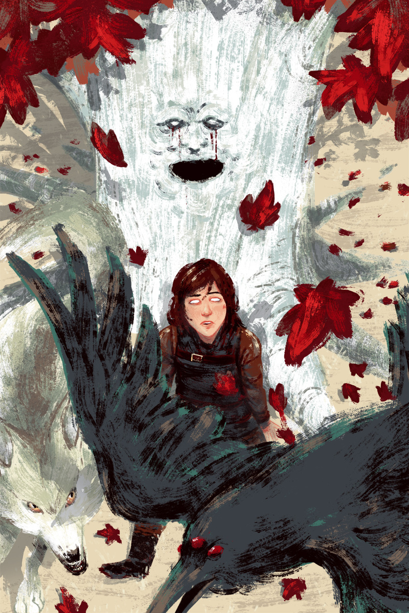 gameofthrones:  Bran, Summer and the three eyed raven by Jon Suguiyama.