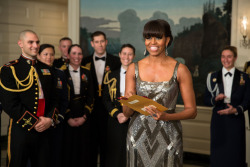 First Lady Michelle Obama announces the Best Picture Oscar to Argo live from the Diplomatic Room of the White House, Feb. 24, 2013.(Official White House Photo by Pete Souza)