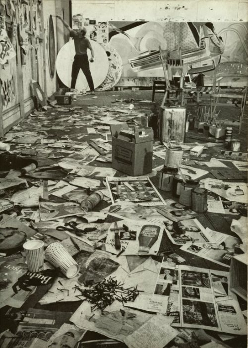 theremina:  James Rosenquist in his studio, 1967 (via Paraphilia Magazine)
