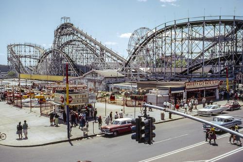 1960s Coney Island Brooklyn Cyclone roller coaster amusement park