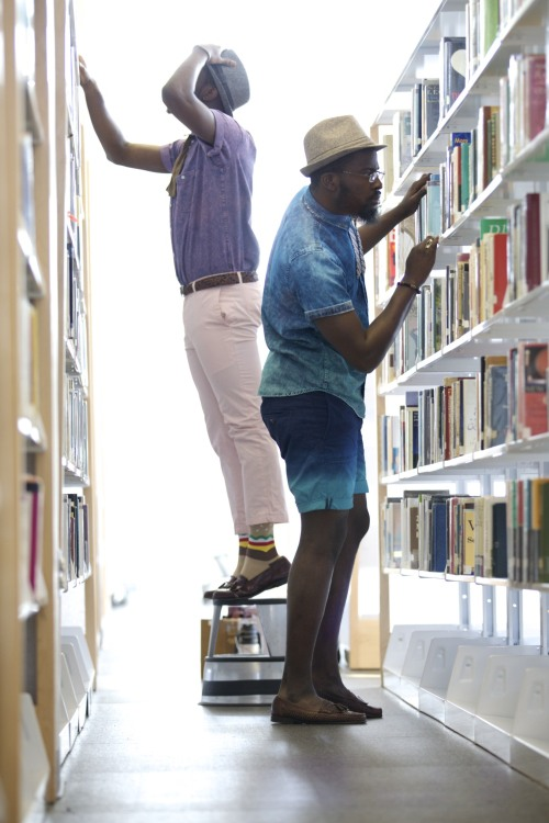blackfashion:  Mike 22 and Malik 21 Ghanaians  Minnesota USA library photoshoot  http://letsmakehistorymike.tumblr.com/ http://bigbyrd1000.tumblr.com/