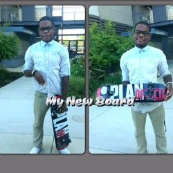 My new whip! Haha I rode my skateboard to work today #sacstate #PlanB #skateboard #ILoveWearingButtonUps #Lofts #me